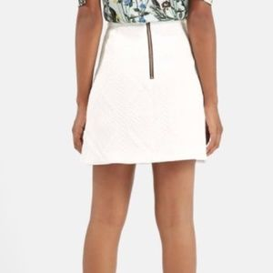 Topshop Skirts - TOPSHOP White Quilted A-Line Mini Rose Gold Zipper